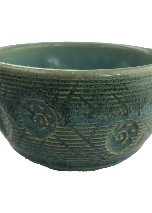 Handmade Tea Bowl - Double Teal