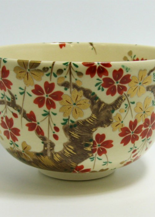 Matcha Tea Bowl Cherry Blossoms (Ninsei)