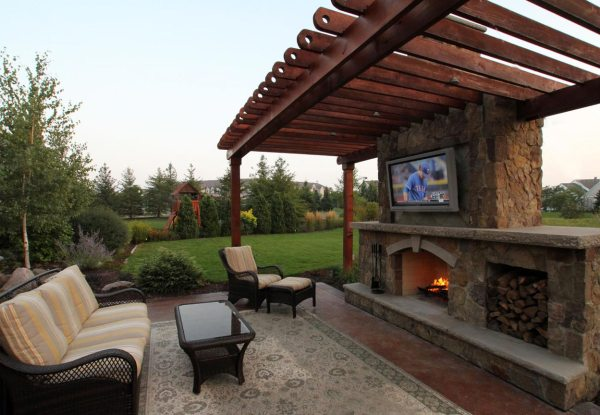 outdoor patio rooms with fireplace Rustic Outdoor Living Room | Ground One