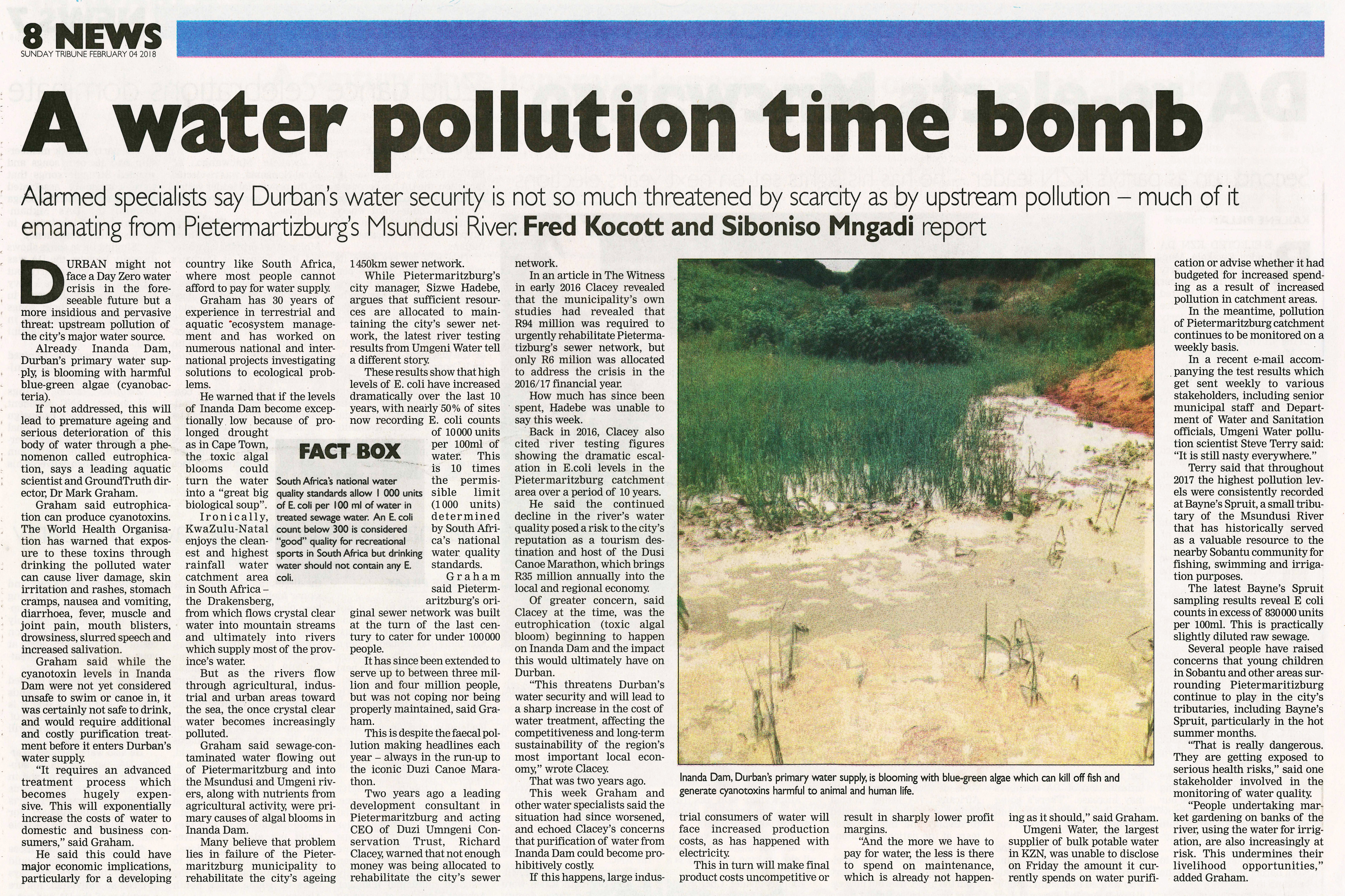 Image result for water pollution in durban  2018