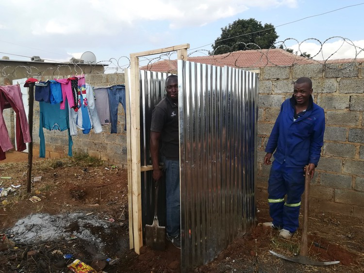 Photo of toilets being built