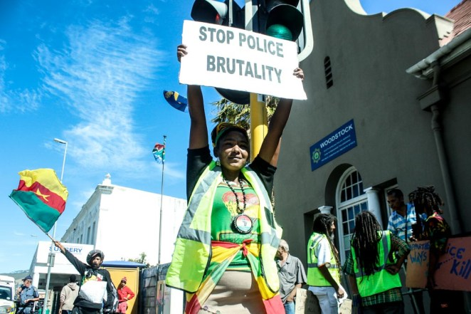 Photo of Rastafarian protest against police brutality