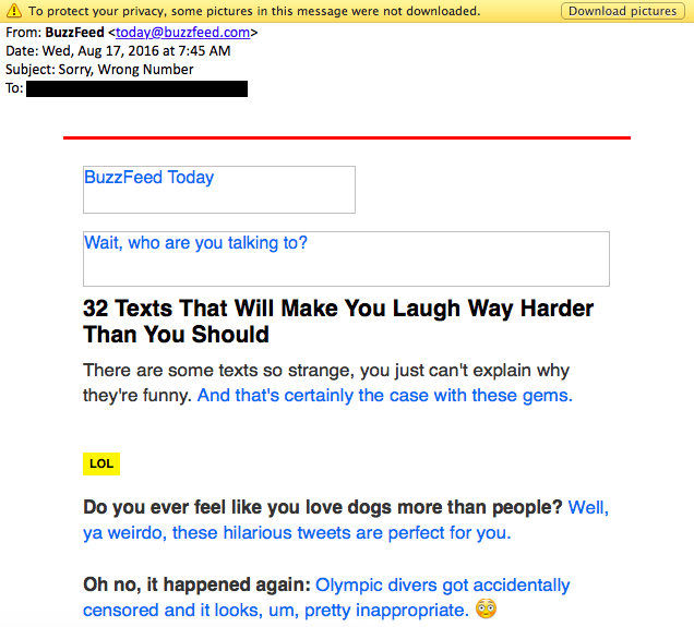 a humorous buzzfeed email promoting new content
