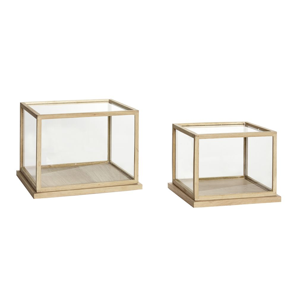 vitrine bois et verre lot de 2