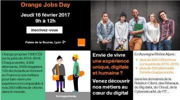 Information sur jobs Day le 16 Février 2017 avec Orange à Lyon.