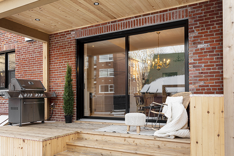 an oversized patio door