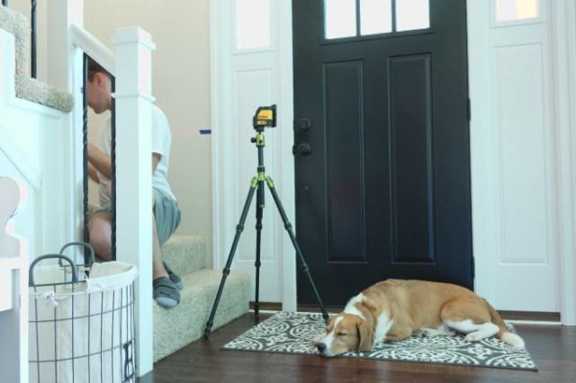 Hanging Baby Gate Using Laser Level, dog napping beside laser level on tripod
