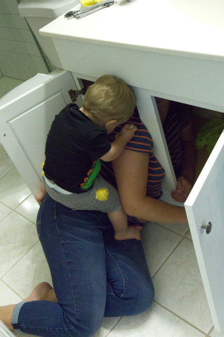Replacing sink faucet with a toddler