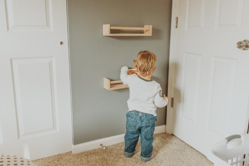 Nursery room toddler bedroom bookshelves storage organizatio IKEA spice racks BEKVAM