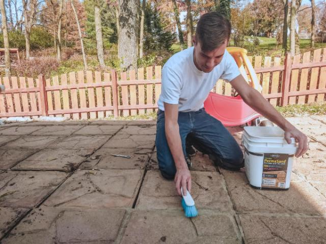 Patio Fall Refresh with Polymeric Sand Polymer Paver Block Crack Fill