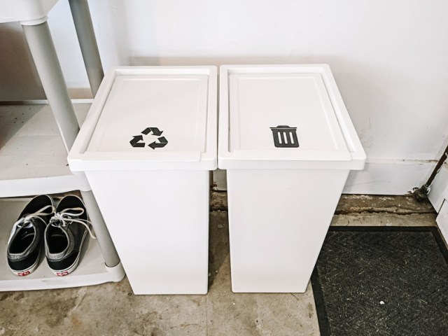 IKEA trash and recycling bins with vinyl labels