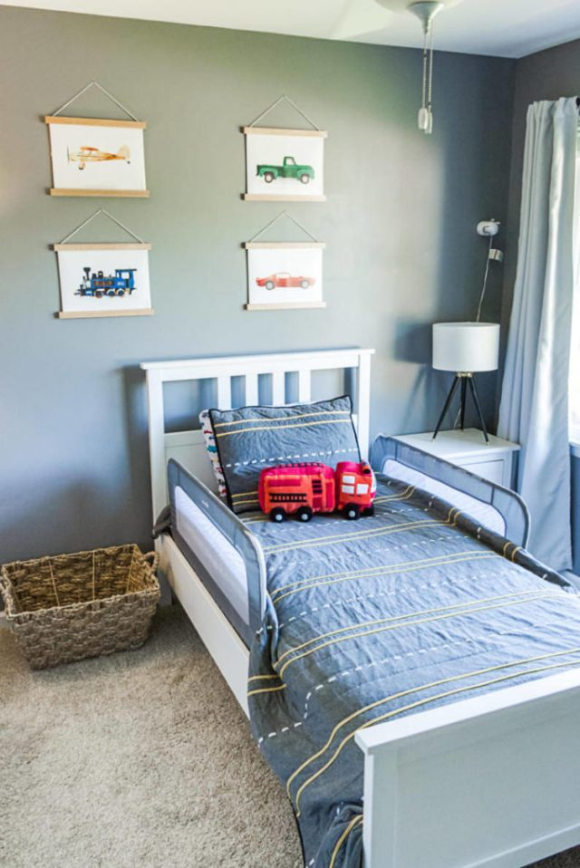 Transportation themed bedding and wall art