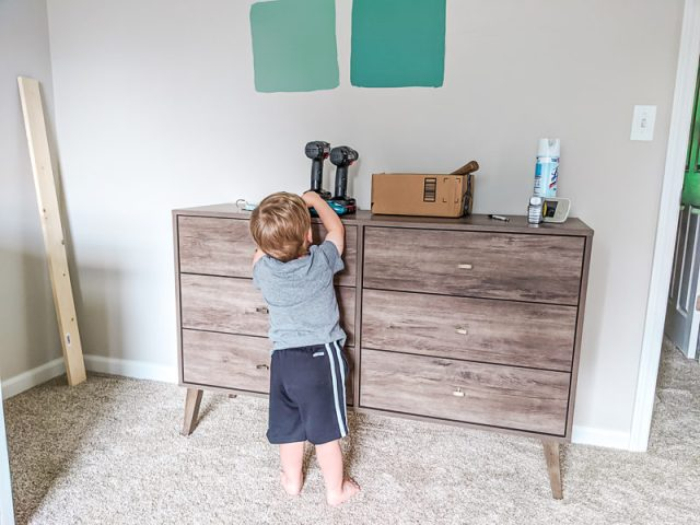Copper Patina Behr Paint on wall with Australian Jade swatches