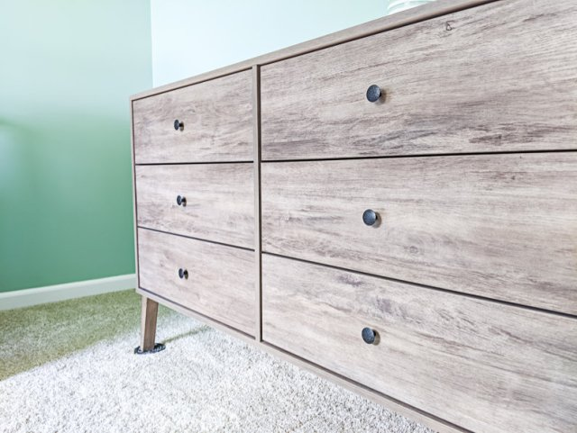 Nurser mid century modern dresser with new back hardware