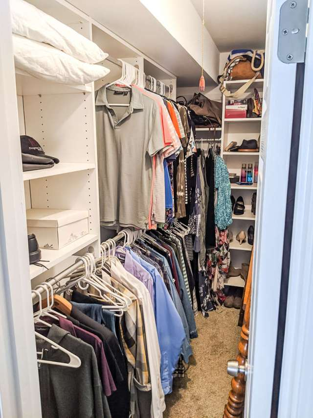 Closet before cleaning, organizing, and decluttering