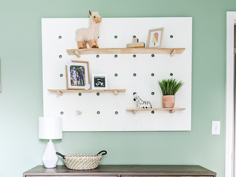 Painted giant pegboard wall shelf