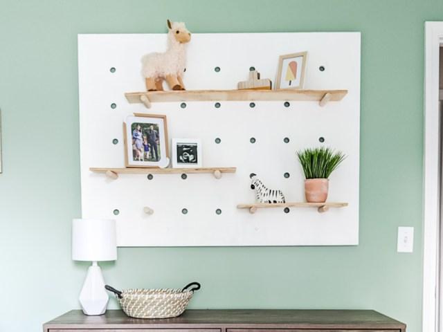 Painted giant pegboard wall shelf