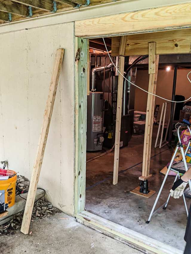 Building new door frame and beam