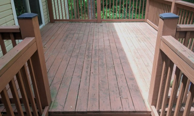 Dirty, grimy, flaking red deck finish