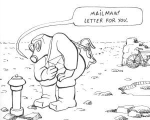 A post-apocalyptic postie delivers a letter in Gébé's Letter to Survivors