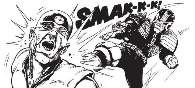 Judge Dredd takes on Mean Machine Angel