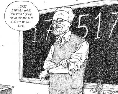 Primo Levi, standing in front of his Auschwitz identification number, telling his story to a class of school children