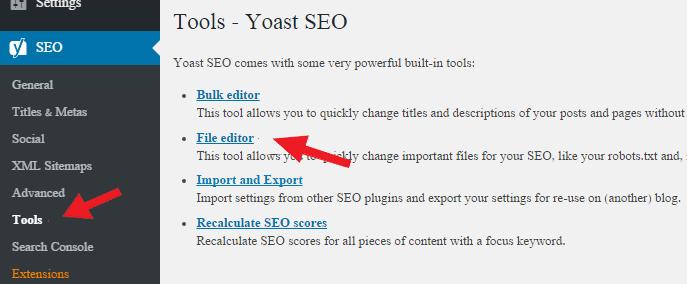 Editing Robots.txt file in Yoast SEO plugin