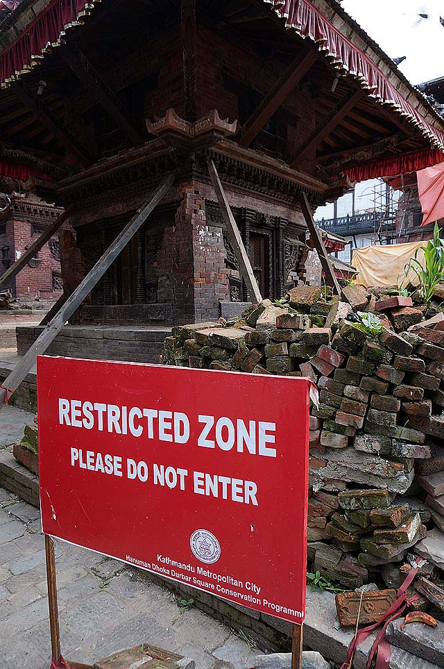 Durbar square - dangerous buildings look like they may collapse at any time