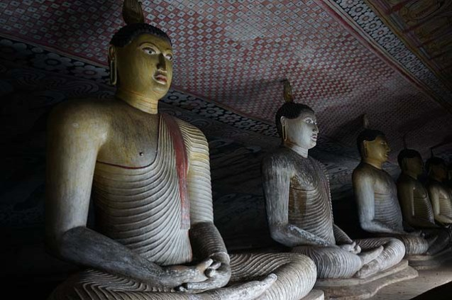 Buddha statues at Dambulla caves
