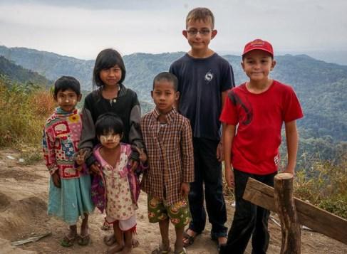 village kids from houses near Golden Rock temple