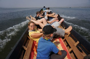On a long tail boat on Inle Lake