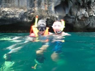 Brave snorkeling Granny