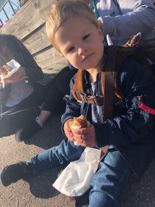 baby bear enjoying the hotdog