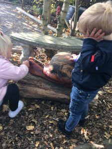 petting the wooden snail