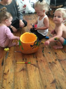 painting their pumpkin