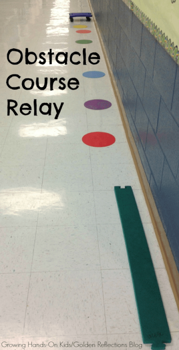 A really fun scooter board activity for kids, an obstacle course relay race.