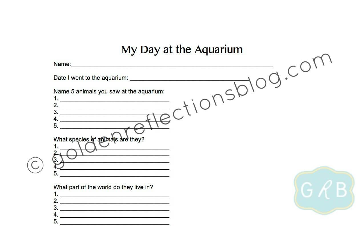 My Day At The Aquarium Worksheet