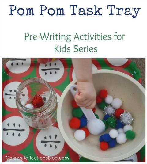 Pom Pom Task Tray - Pre-writing Activities for Kids Series | www.GoldenReflectionsBlog.com