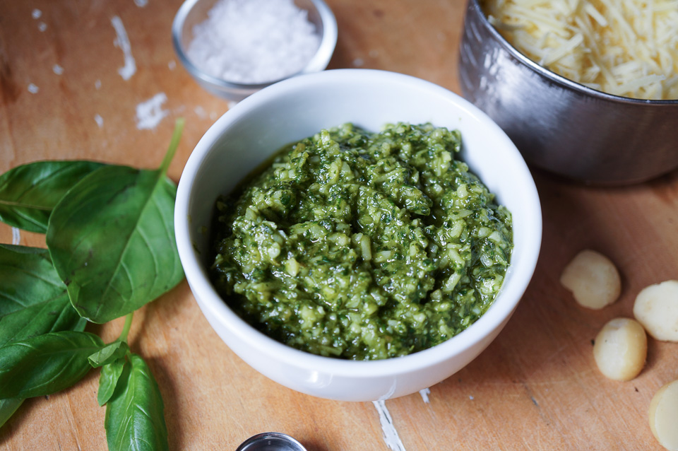 Macadamia Basil Pesto | Gluten Free, Low FODMAP | Growing Home