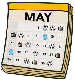 Calendar with what students did each day shown with pictures