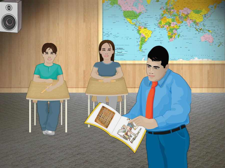 Teacher showing book to students
