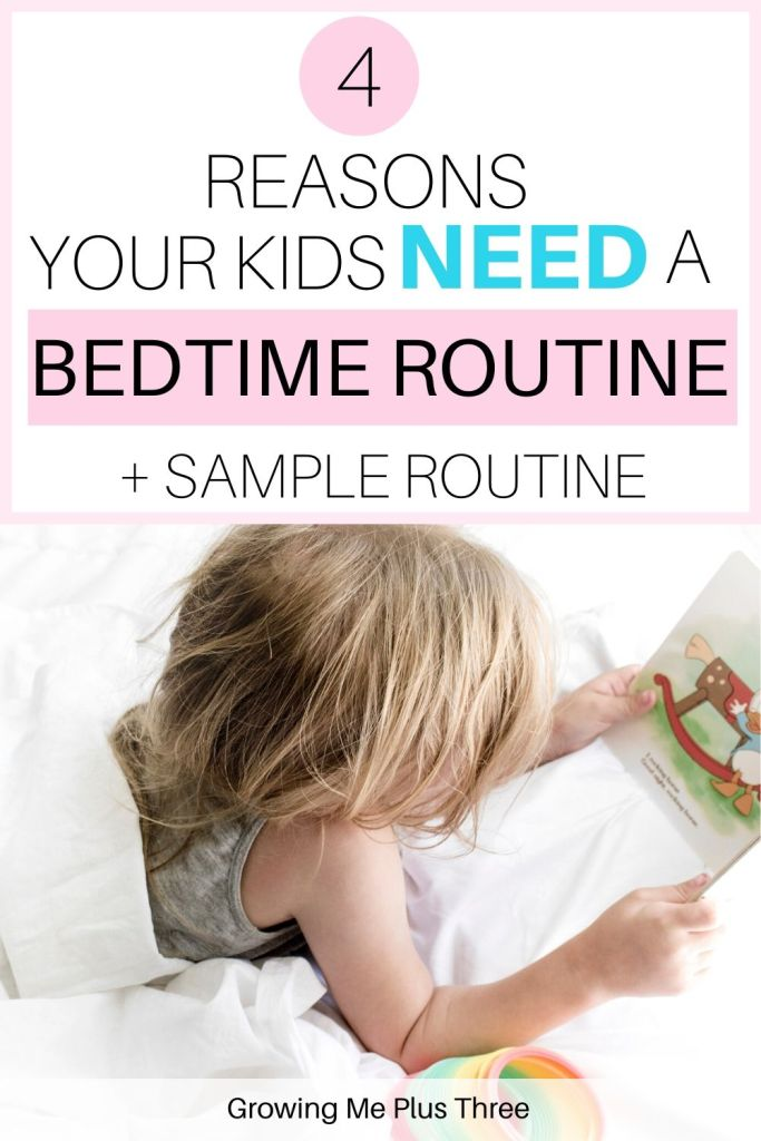 Pinterest image of child peeking from under bedsheets with text '4 reasons your kids need a bedtime routine +sample routine'