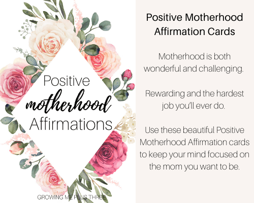 Image of positive motherhood cards available in site's shop