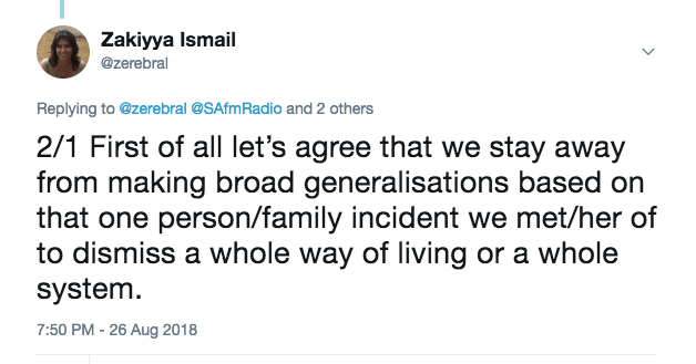 2/1  First of all let's agree that we stay away from making broad generalisations based on that one person/family incident we met/heard of to dismiss a whole way of living or a whole system.