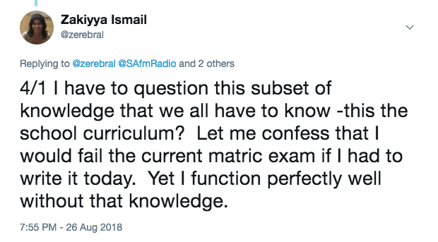 4/1 I have to question this subset of knowledge that we all have to know -this the school curriculum?  Let me confess that I would fail the current matric exam if I had to write it today.  Yet I function perfectly well without that knowledge.