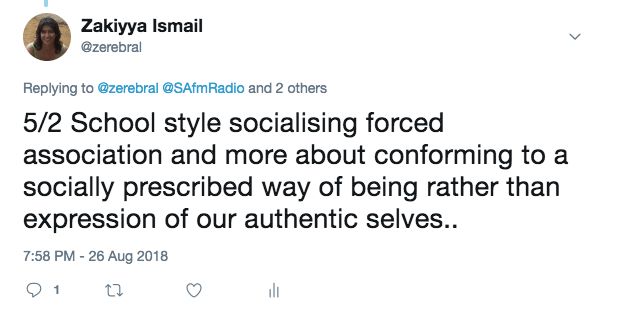 School style socialising forced association and more about conforming to a socially prescribed way of being rather than expression of our authentic selves..