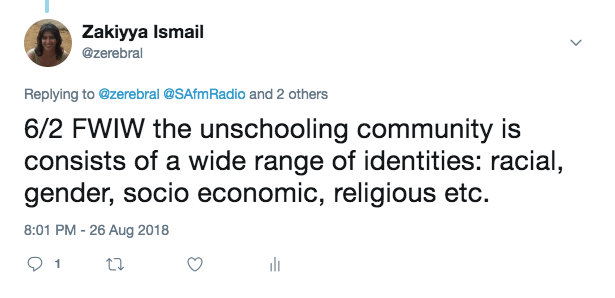 FWIW the unschooling community is consists of a wide range of identities: racial, gender, socio economic, religious etc.