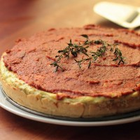 Ricotta basil tart with sundried tomatoes topping