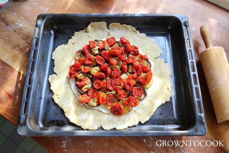 galette with roasted vegetables and goat cheese