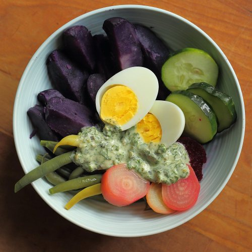 colorful vegetables with cold herb sauce